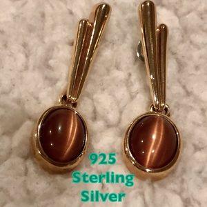 925 sterling silver boho earrings w detail & stone